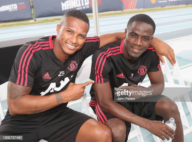 Antonio Valencia and Eric Bailly of Manchester United take part in a first team training session as part of their preseason tour of the USA at UCLA...