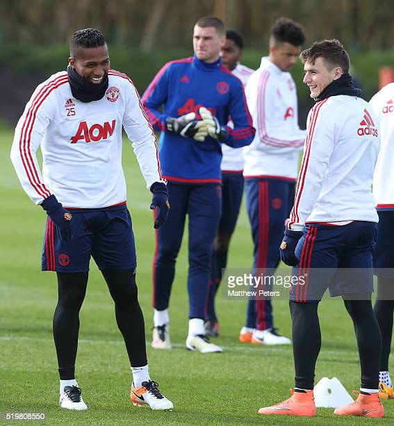 Antonio Valencia and Guillermo Varela of Manchester United in action during a first team training session at Aon Training Complex on April 8 2016 in...
