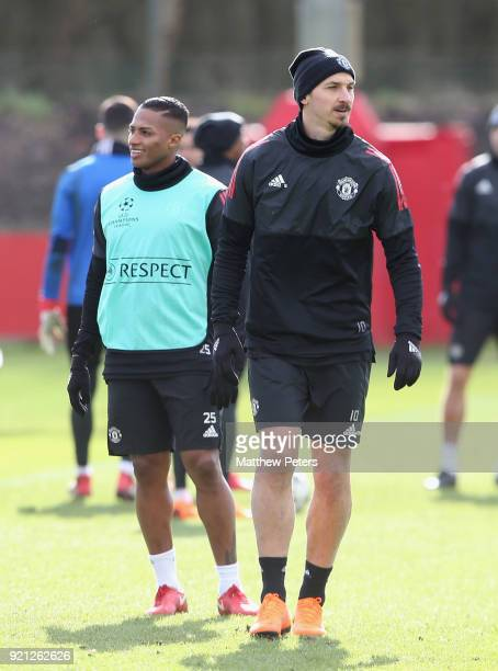 Antonio Valencia and Zlatan Ibrahimovic of Manchester United in action during a first team training session at Aon Training Complex on February 20...