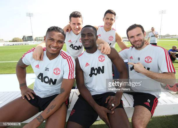Antonio Valencia Ander Herrera Alexis Sanchez Eric Bailly and Juan Mata of Manchester United in action during a first team training session at Nad Al...