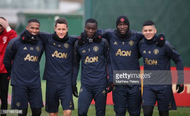 Antonio Valencia, Ander Herrera, Eric Bailly, Romelu Lukaku and Marcos Rojo of Manchester United in action during a first team training session ahead...