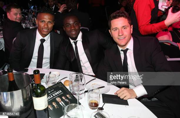 Antonio Valencia Eric Bailly and Ander Herrera of Manchester United attend the annual United for UNICEF gala dinner at Old Trafford on November 15...