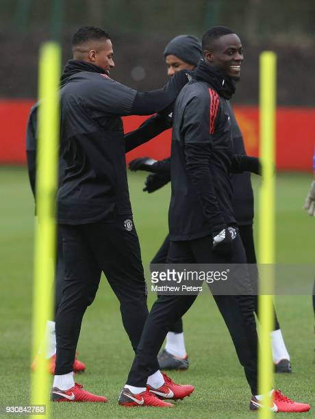 Antonio Valencia Marcus Rashford and Eric Bailly of Manchester United in action during a first team training session at Aon Training Complex on March...