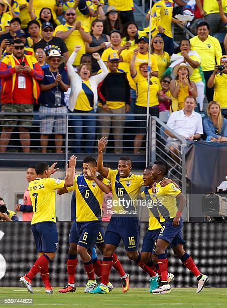 Antonio Valencia of Ecuador celebrates with teammates after scoring the fourth goal of his team during a group B match between Ecuador and Haiti at...