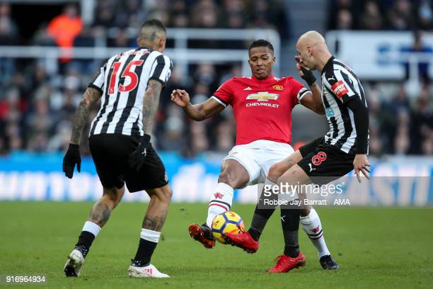 Antonio Valencia of Manchester United and Jonjo Shelvey of Newcastle United during the Premier League match between Newcastle United and Manchester...