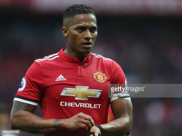 Antonio Valencia of Manchester United celebrates after the Premier League match between Manchester United and Liverpool at Old Trafford on March 10...