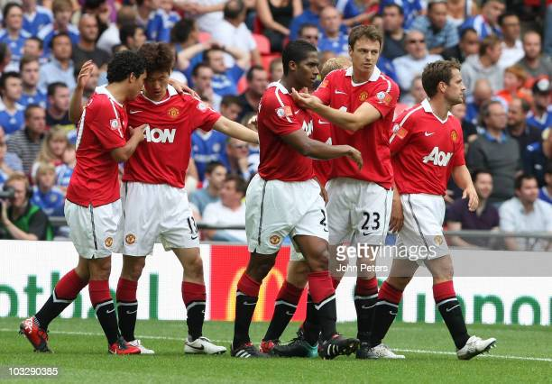 Antonio Valencia of Manchester United celebrates scoring their first goal during the FA Community Shield match between Chelsea and Manchester United...