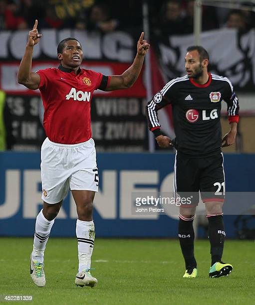 Antonio Valencia of Manchester United celebrates scoring their first goal during the UEFA Champions League Group A match between Bayer Leverkusen and...
