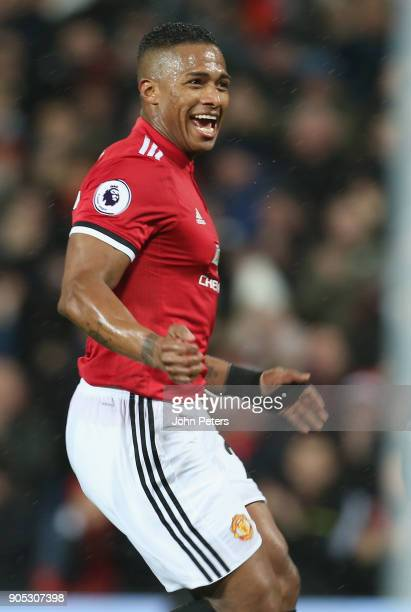 Antonio Valencia of Manchester United celebrates scoring their first goal during the Premier League match between Manchester United and Stoke City at...