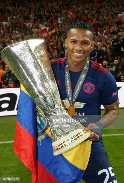 Antonio Valencia of Manchester United celebrates with the Europa League trophy after the UEFA Europa League Final match between Manchester United and...