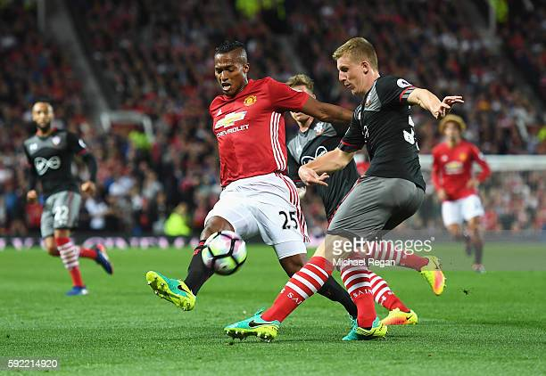 Antonio Valencia of Manchester United closes down Matt Targett of Southampton during the Premier League match between Manchester United and...