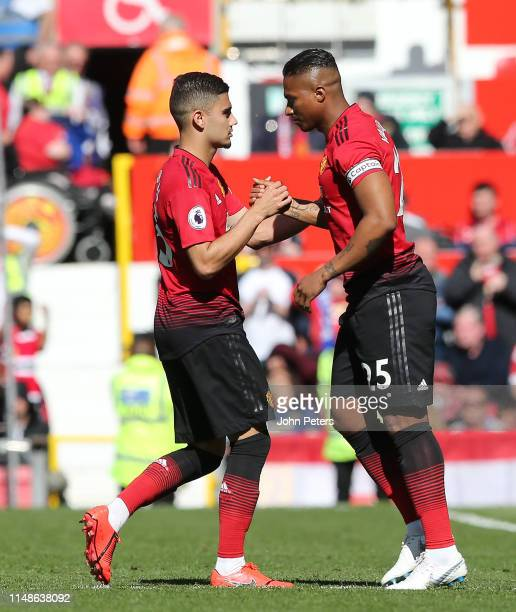 Antonio Valencia of Manchester United comes on as a substitute during the Premier League match between Manchester United and Cardiff City at Old...