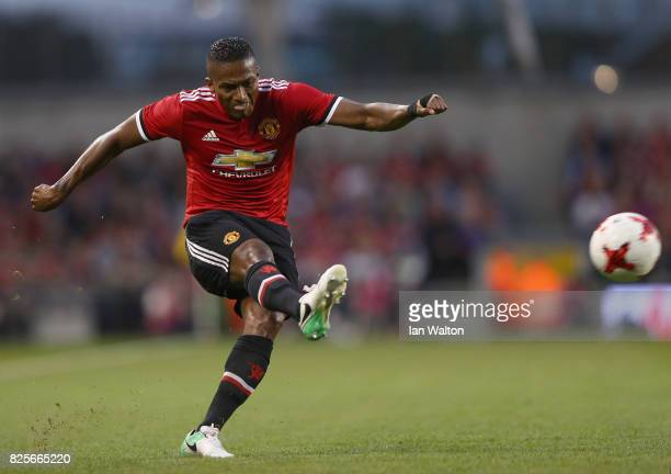 Antonio Valencia of Manchester United during the International Champions Cup match between Manchester United and Sampdoria at Aviva Stadium on August...