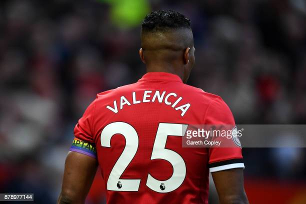 Antonio Valencia of Manchester United during the Premier League match between Manchester United and Brighton and Hove Albion at Old Trafford on...