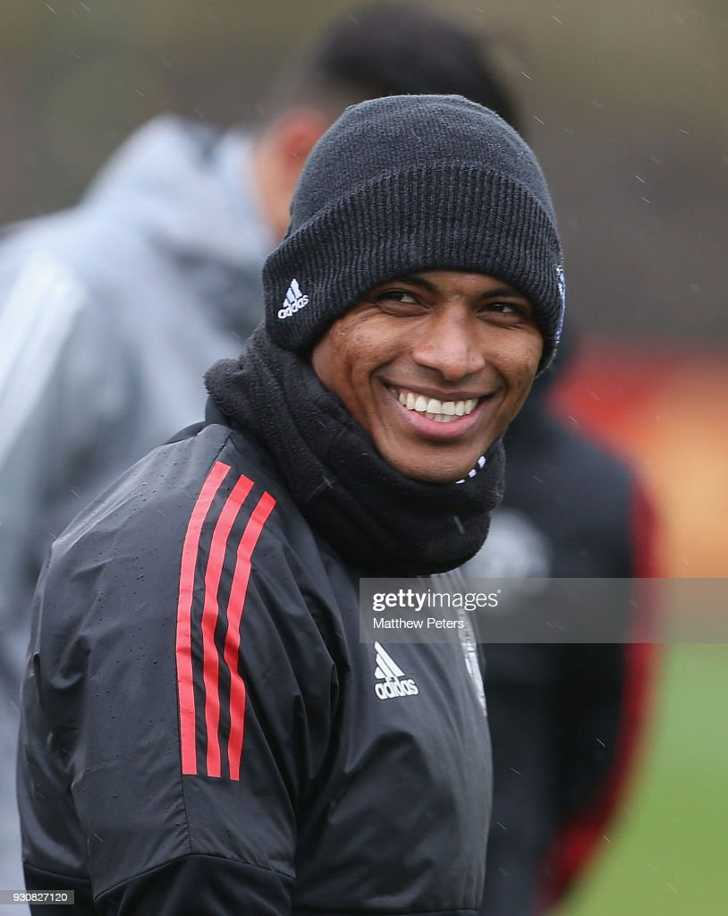 Antonio Valencia of Manchester United in action during a first team training session at Aon Training Complex on March 12, 2018 in Manchester, England.