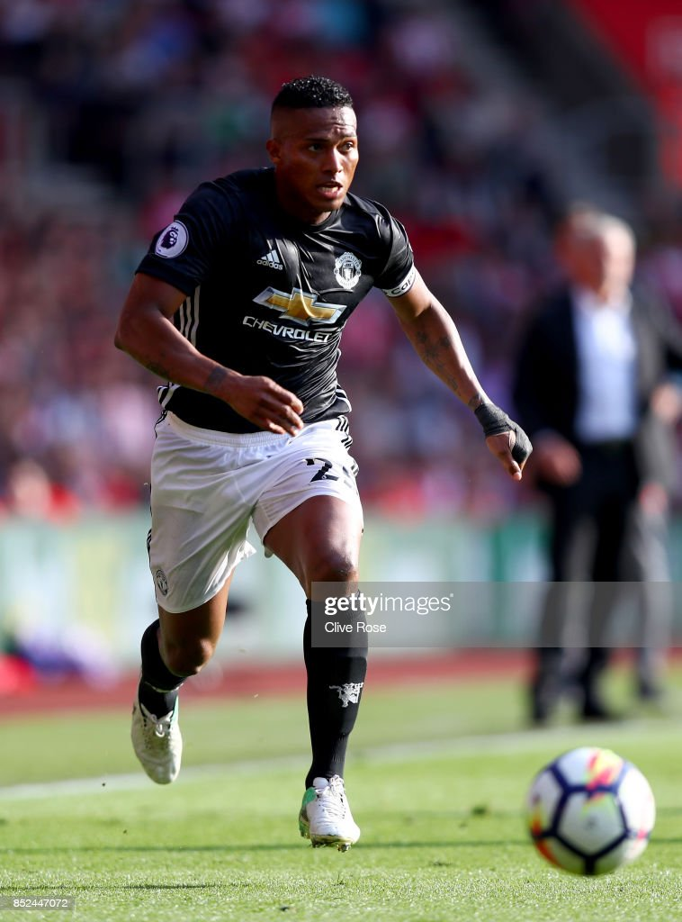 Antonio Valencia of Manchester United in action during the Premier League match between Southampton and Manchester United at St Mary's Stadium on September 23, 2017 in Southampton, England.