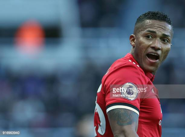 Antonio Valencia of Manchester United in action during the Premier League match between Newcastle United and Manchester United at St James Park on...