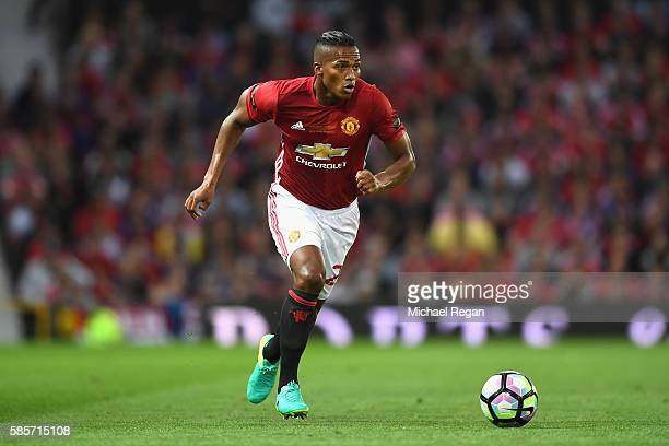 Antonio Valencia of Manchester United in action during the Wayne Rooney Testimonial match between Manchester United and Everton at Old Trafford on...