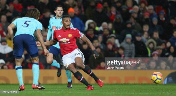 Antonio Valencia of Manchester United in action with Nathan Ake of AFC Bournemouth during the Premier League match between Manchester United and AFC...