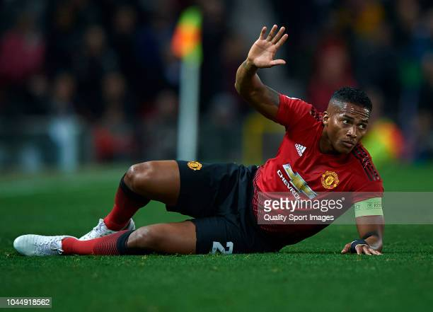 Antonio Valencia of Manchester United lies on the pitch during the Group H match of the UEFA Champions League between Manchester United and Valencia...