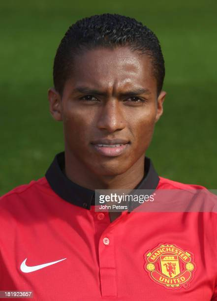 Antonio Valencia of Manchester United poses at the annual club photocall at Old Trafford on September 26 2013 in Manchester England