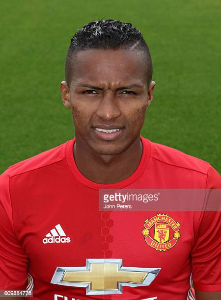Antonio Valencia of Manchester United poses for a portrait at the Manchester United Official Photocall on September 19 2016 in Manchester England