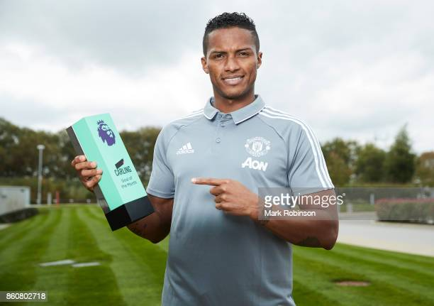 Antonio Valencia of Manchester United poses with the Carling Goal of the Month Award for September 2017 on October 12 2017 in Manchester England