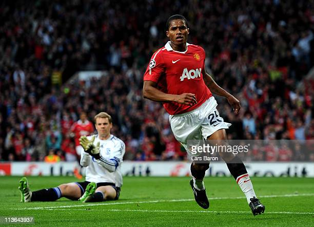 Antonio Valencia of Manchester United runs away to celebrate after scoring the opening goal during the UEFA Champions League Semi Final second leg...