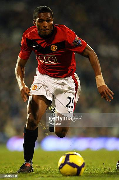 Antonio Valencia of Manchester United runs with the ball during the Barclays Premier League match between Fulham and Manchester United at Craven...