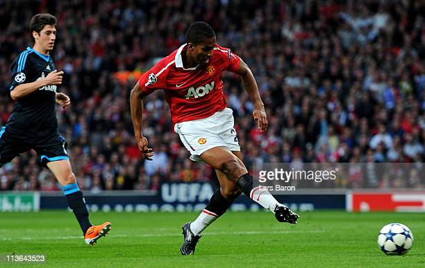 Antonio Valencia of Manchester United scores the opening goal during the UEFA Champions League Semi Final second leg match between Manchester United...