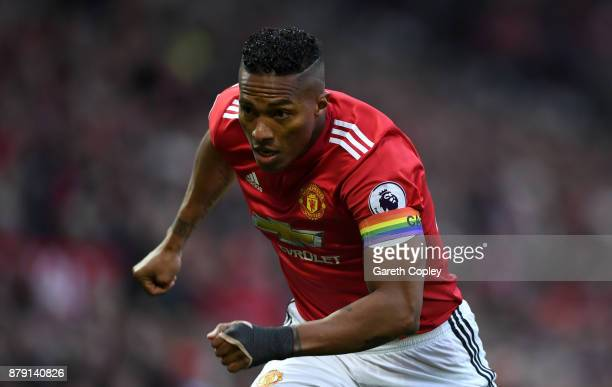 Antonio Valencia of Manchester United wears rainbow colours captains armband during the Premier League match between Manchester United and Brighton...