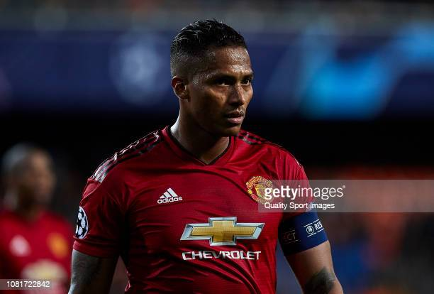 Antonio Valencia of Valencia CF looks on during the UEFA Champions League Group H match between Valencia and Manchester United at Estadio Mestalla on...