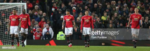 Antonio Valencia Romelu Lukaku Marcos Rojo Jesse Lingard and Nemanja Matic of Manchester United show their disappointment at conceding a goal to...