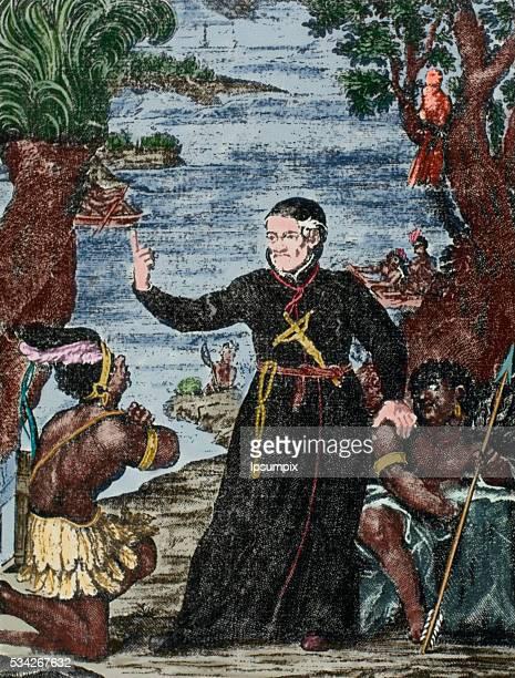 Antonio Vieira Portuguese Jesuit philosopher and writer Vieira preaching in Brazil Colored engraving