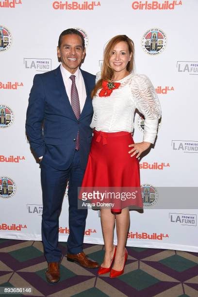 Antonio Villaraigosa and Patricia Govea attend the LA Promise Fund's Girls Build Leadership Summit at Los Angeles Convention Center on December 15...