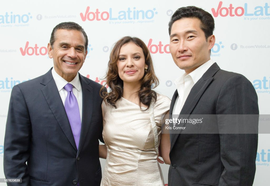 Antonio Villaraigosa, Maria Teresa Kumar and Danial Dae Kim pose for a photo during the 4th Annual Our Voices: Celebrating Diversity in Media reception to benefit Voto Latino at The Hay-Adams on April 26, 2013 in Washington, DC.