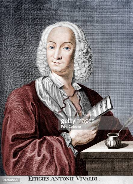 Antonio Vivaldi Italian Baroque composer Catholic priest and virtuoso violinist 1725 A print from Les Musiciens Celebres Lucien Mazenod Paris 1948...