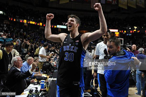 Antonio Vrankovic of the Duke Blue Devils celebrates following their 8583 win against the Wake Forest Demon Deacons at LJVM Coliseum Complex on...