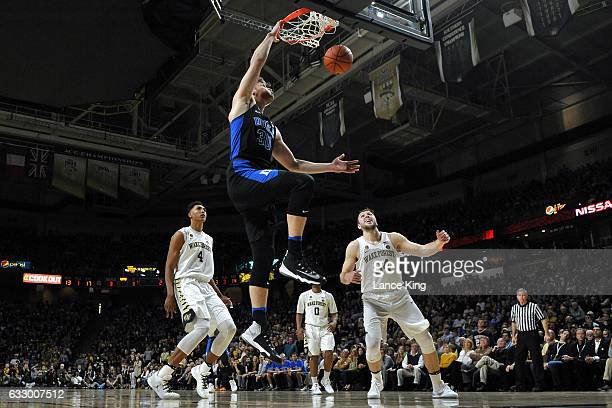 Antonio Vrankovic of the Duke Blue Devils dunks the ball against the Wake Forest Demon Deacons at LJVM Coliseum Complex on January 28 2017 in...