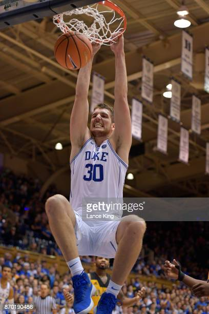 Antonio Vrankovic of the Duke Blue Devils dunks the ball against the Bowie State Bulldogs at Cameron Indoor Stadium on November 4 2017 in Durham...
