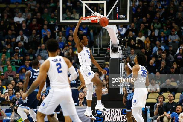 Antonio Vrankovic of the Duke Blue Devils dunks the ball against the Rhode Island Rams during the first half in the second round of the 2018 NCAA...