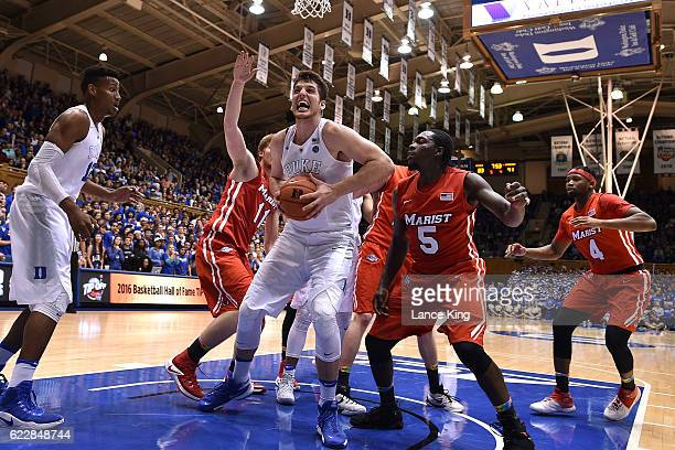 Antonio Vrankovic of the Duke Blue Devils gets an offensive rebound against the Marist Red Foxes at Cameron Indoor Stadium on November 11 2016 in...