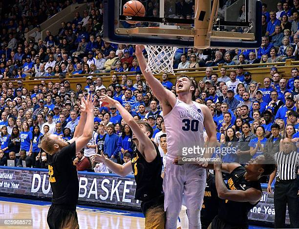 Antonio Vrankovic of the Duke Blue Devils tips in a rebound against against the Appalachian State Mountaineers during the game at Cameron Indoor...