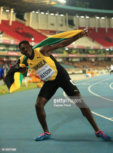 Antonio Watson of Jamaica celebrates after winning gold in the final of the boys 400m on day three of the IAAF U18 World Championships at the...