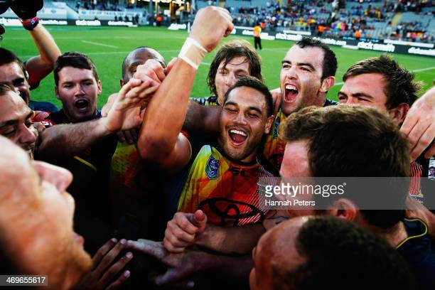 Antonio Winterstein of the Cowboys celebrates after winning the grand final match between the Brisbane Broncos and the north Queensland Cowboys in...