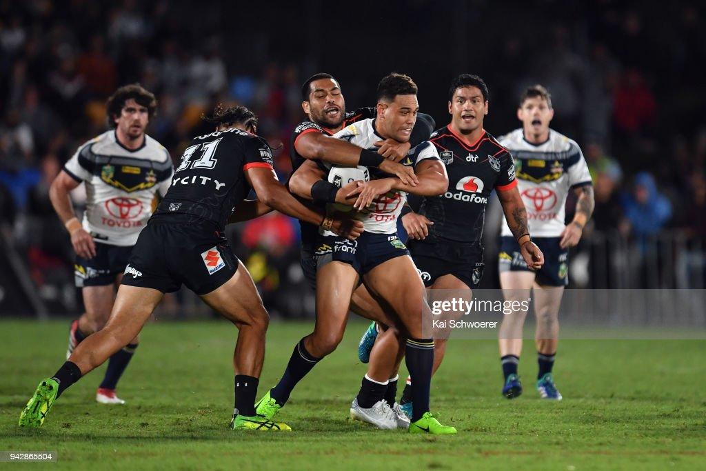 Antonio Winterstein of the Cowboys is tackled during the round five NRL match between the New Zealand Warriors and the North Queensland Cowboys at Mt Smart Stadium on April 7, 2018 in Auckland, New Zealand.