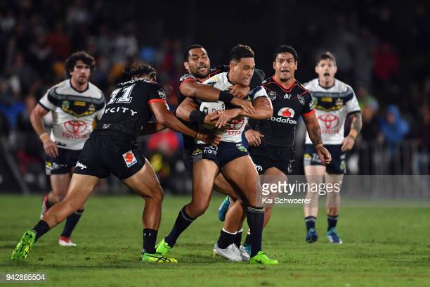 Antonio Winterstein of the Cowboys is tackled during the round five NRL match between the New Zealand Warriors and the North Queensland Cowboys at Mt...