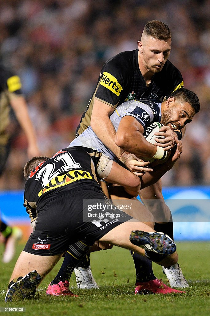 Antonio Winterstein of the Cowboys is tackled during the round six NRL match between the Penrith Panthers and the North Queensland Cowboys at Pepper Stadium on April 9, 2016 in Sydney, Australia.