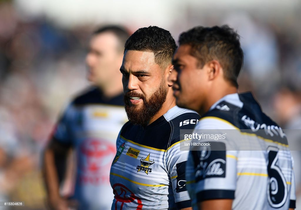 Antonio Winterstein of the Cowboys looks on at the start of the round 19 NRL match between the South Sydney Rabbitohs and the North Queensland Cowboys at Barlow Park on July 16, 2017 in Cairns, Australia.