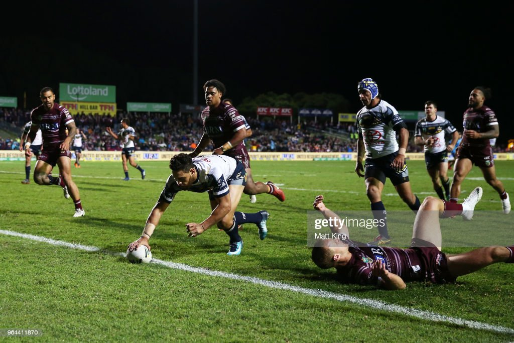 Antonio Winterstein of the Cowboys scores a try during the round 13 NRL match between the Manly Sea Eagles and the North Queensland Cowboys at Lottoland on May 31, 2018 in Sydney, Australia.